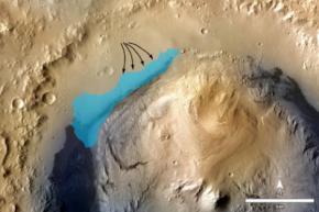 На марсе обнаружены следы озера с пресной водой