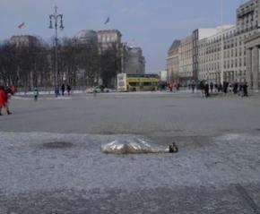 Итальянский художник Алессандро Раушманна обмотался термофольгой в поддержку Майдана