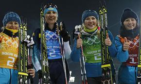 Украинская сборная по биатлону выиграла золото в Сочи