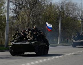 В Краматорске появились танки под российскими флагами