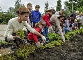 Марина Порошенко высадила цветы на школьном дворе