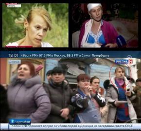 На месте обстрела троллейбуса в Донецке заранее оказалась группа актеров, российское телевидение знало, где снимать